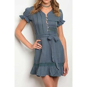 Italian Style Doll Dress with Button Down Plunge